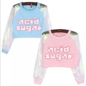 Sweaters - Acid Sugar sweatshirt irridescent hologram crop